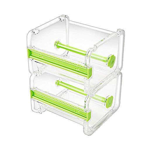 Molshine 2 Pack Dispenser di Nastro per Mascheratura Trasparente da Tavolo Trasparente Multi Washi,Taglierina (Non Includere Nastro Adesivo) (Verde)