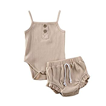 Newborn Toddler Baby Girl Ribbed Bloomer Shorts Clothes Set Knitted Romper Tank Top Plain Shorts 2 Piece Summer Outfits  Nude 0-3 Months