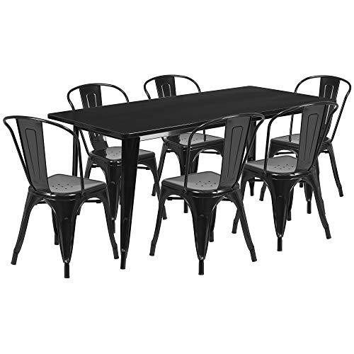 7-Piece Black Rectangular Outdoor Furniture Patio Dining Set 63'