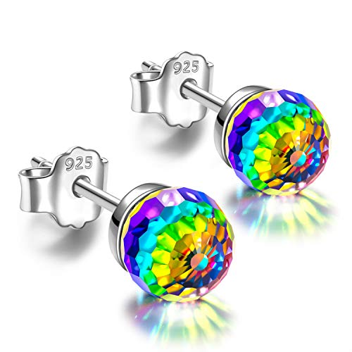 NINASUN Rainbow Princess Women Christmas Earrings Gifts Ball Sterling Silver Crystal Clip On Stud Earrings for Women with Vitrail Medium Crystal from Swarovski Hypoallergenic