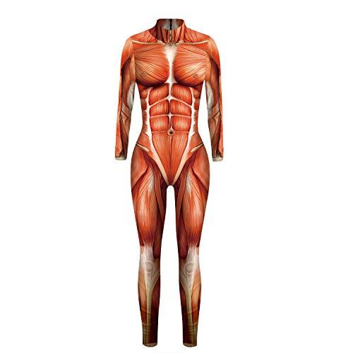 Moon&Miss Womens Skull Skeleton Bone Bodysuits 3D Print Costume Stretch Skinny Catsuit Overall Jumpsuit (Medium, Muscle Jump Suit)