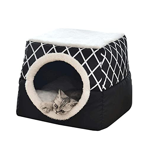 litulituhallo Cama de gato plegable 2 en 1 con cojín extraíble lavable a máquina, color negro