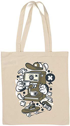 Kreskówka stylizowana ekspres do kawy łyżwiarz miejski napój naturalna bawełna torba na ramię