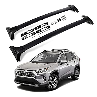 Roof Rack Cross Bars Compatible with 2019 2020 2021 Toyota Rav4 LE XLE XSE Limited Hybrid Crossbars - Luggage Rack Black Matte Aluminum Cargo Bars Max Loading at 165lb