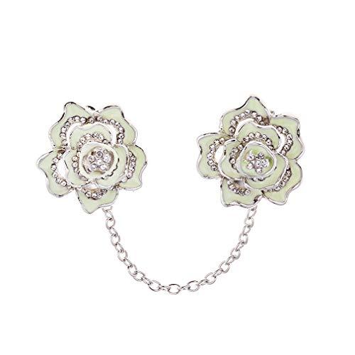 LLZIYAN Rose Fleur Strass Collier Clip Pull Châle Clips Cardigan Robes Clip avec Chaîne pour Les Femmes