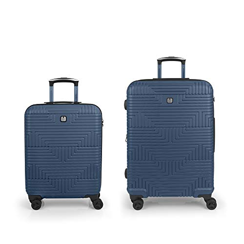 Gabol - Shock | Blue Rigid Travel Suitcase Set with Cabin Trolley and Medium Trolley