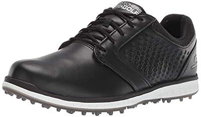 Skechers Women's Elite 3 Spikeless Waterproof Golf Shoe, Black/White Leather, 5.5 M US