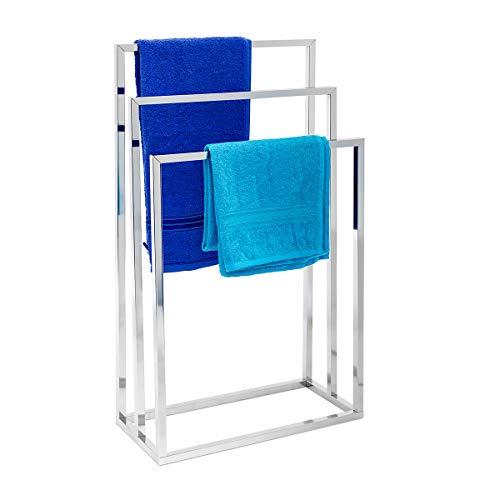 Relaxdays 10019256 Porte-serviettes sur pied avec base antidérapante 3 bras chromés en 3 hauteurs inox 82 x 46 x 21 cm support vêtement, gris argenté