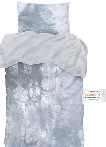 arteneur® - Bettwäsche Batik 135x200 cm grau - Bettbezug Set 2 Teilig mit 80x80 cm Kissenbezug aus Microfaser mit Reißverschluss & Atmungsaktiv