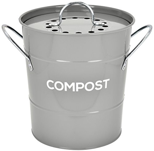 Best Buy! Spigo Indoor Kitchen Compost BIN, Great for Food Scraps, Includes Charcoal Filter for Odor...