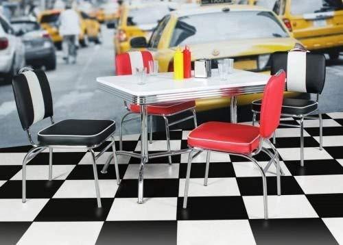 Wohnling Elvis - American Diner eettafel, 120 x 76 x 80 cm, van MDF/aluminium, robuuste bistrotafel in de stijl van de jaren '50, eetkamertafel met onderstel van verchroomd aluminium, wit/zilver