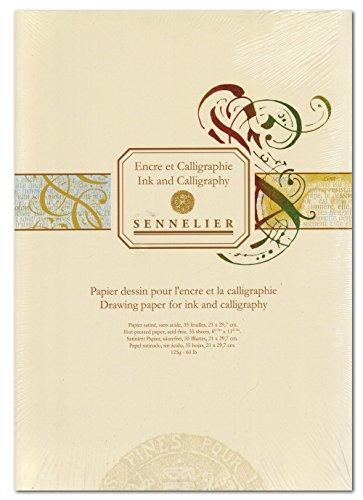 Block für Kalligraphie und Zeichentusche Sennelier DIN A4 weiß satiniert 35 Blatt
