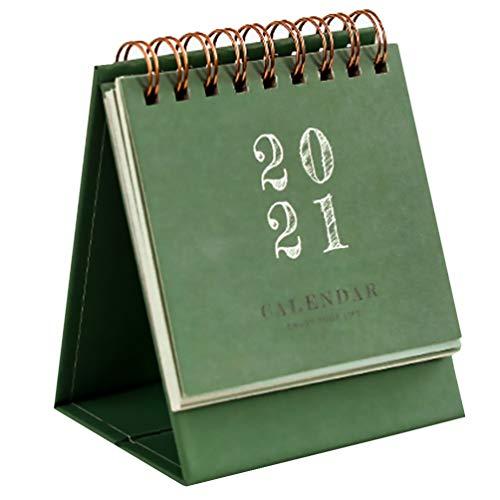 SOIMISS Mini 2021 Calendario Desk Coil Calendar Stand Up Calendar 2021 Planificador Nochevieja Regalo Verde Oscuro