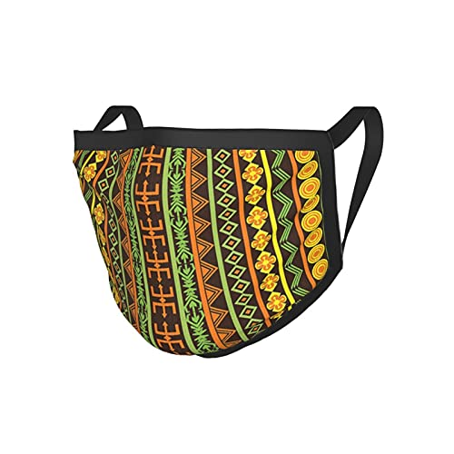 Ethnic African Pattern With Geometric Figures Folk Cultural Abstract Art Print Yellow Brown Lime Green Reusable Face Adult Dust And Cold Mask