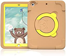 IPad 9.7 2018 2017 / iPad Air 2 / iPad Air Case, [Magic Ring] 360 Rotating Multi-Functional Grip Stand Shockproof Full-Body Rugged Protective Cover for iPad 6th 5th Gen, iPad Air 1 2,Brown