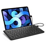 ProCase Slim Wired Keyboard for Type-C Port iPad/Android Tablets and Phones, Lightweight Low Profile Wired USB-C Keyboard with Foldable Stand, US English Layout –Black