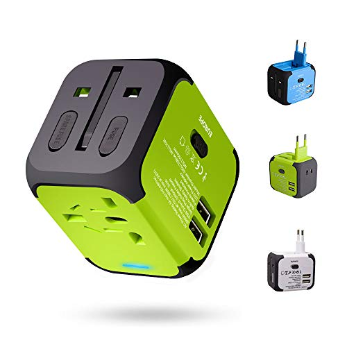 Adattatore da Viaggio con 2 USB 3.0 (US/EU/UK/AU) Adattatore Universale da Viaggio con due fusibile (fusibile di ricambio) Utilizzati in più di 150 paesi Caricabatterie (Verde)