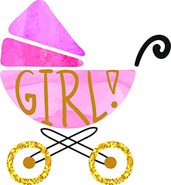 Pretty Sweet Baby Girl Gender Reveal Cartoon Art Vinyl Sticker 4 Tall Baby Carriage
