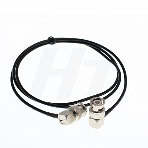 hangton RG174 Rechts Winkel BNC Jumper RF Koaxial Audio-Video Signal BNC Stecker auf Stecker Adapter Kabel Low Loss 75 Ohm Schwarz 9.8ft/3meter