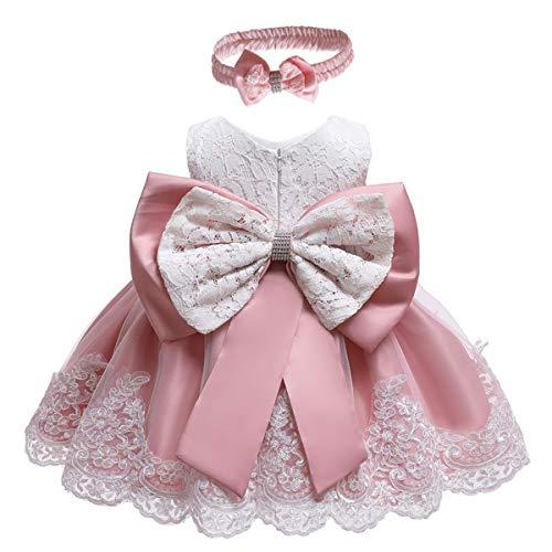 WOCINL Vestidos de flores de encaje con lazo, princesa, boda, cumpleaños, desfile, bautizo, tutú con sombrero - rosa - 12 -18 meses