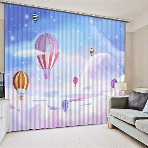 HAOTTP 3D Rideaux occultants doublures de lit de Haute qualité Costom Ciel Dessin animé Rose Ballons fenêtre Salon fenêtre d'ombrage H200xW240CM