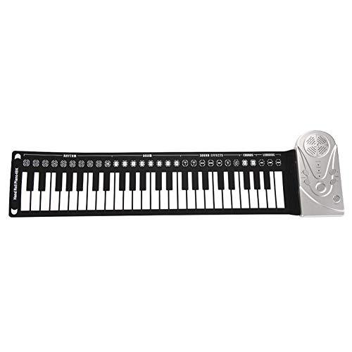 Pianoforte portatile arrotolabile con 49 tasti, tastiera elettronica con supporto per registrazione e riproduzione, per bambini e adulti