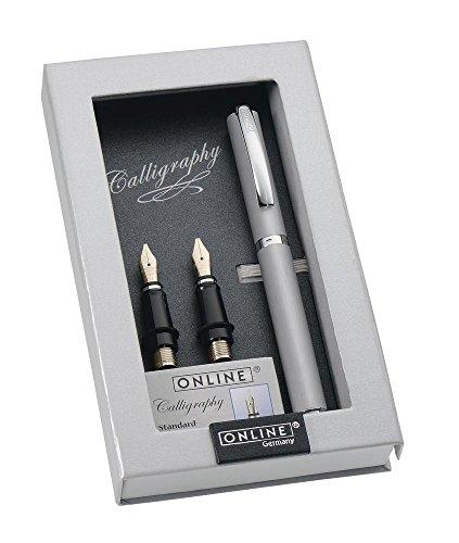 ONLINE Kalligrafie-Set Vision Silver, Füller mit 3 Kalligraphie-Federn Breite 0.8, 1.4, 1.8 mm, inklusive Calligraphy-Tintenpatronen, in edler Geschenk-Box, Schönschreib-Füller Silber