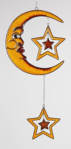 dekojohnson Moderne Deko für das Fenster-Hänger Dekohänger Glasbild Tiffany Fensterdeko Mond mit Sternen Orange 40cm