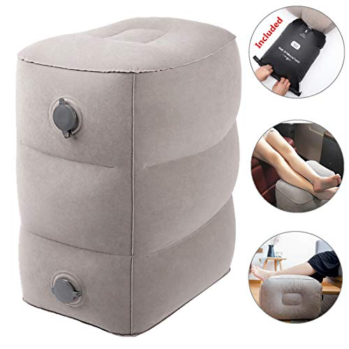 Travel Foot Rest Pillow with Pump Bag-Kids Airplane Bed to Sleep, Adjustable Height Leg Pillow for Adults to Relax at Home/Office, Patent Valve-Easy...