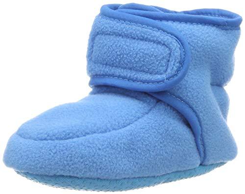 Playshoes Baby-Schuhe aus Fleece, Krabbelschuhe für Mädchen und Jungen mit rutschhemmender Noppen-Sohle, Türkis (aquablau), 16/17 EU