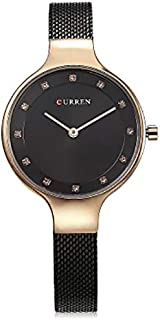 Curren Quartz Movement 9008 Stainless Steel Strap Round Analog Black Watch for Women