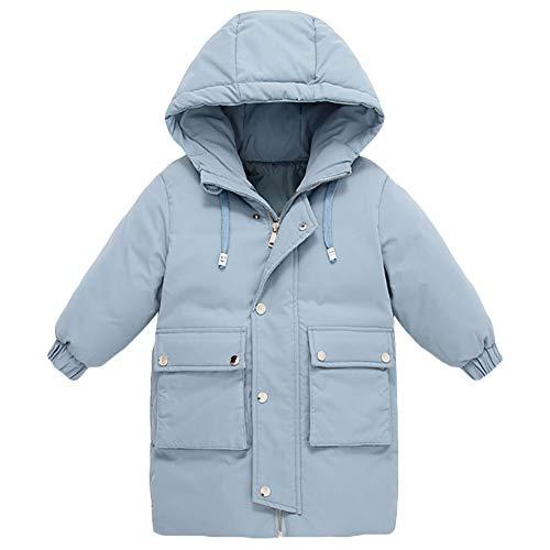 AMIYAN Junge Mädchen Dauenmantel Winter Mantel Lang Winterjacke Dicke Warm Steppmantel Reißverschluss Kapuzenjacke Outfit 3-10 Jahre, Blau, 120