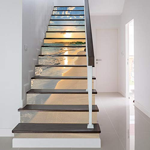 FLFK 3D amanecer Oceano playa auto-adhesivos Pegatinas de Escalera pared pintura vinilo Escalera calcomanía Decoración 39.3 pulgadas x7.08 pulgadas X 13Piezas
