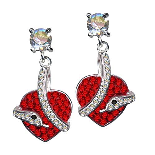 Pendientes de plata de ley 925 con diseño de serpiente, corazón rojo, auténtica plata de ley 925, circonitas, brillantes, amor, creencia, esperanza, emoción, símbolo, diseño, objeto,