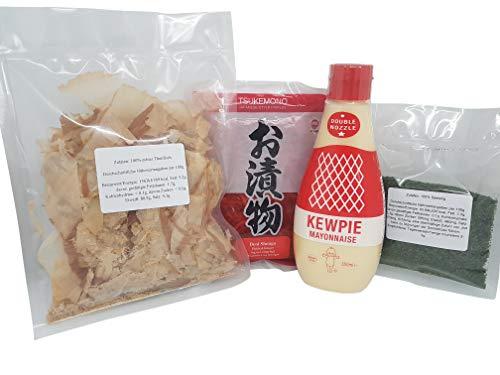 Yakisoba, Takoyaki, Okonomiyaki Zutaten: Katsuobushi (100%) Bonito Flocken, Benishoga, japanische Mayonnaise QP Kewpie, Aonori ko, Grundzutaten Rezept, Rezeptvorschlag