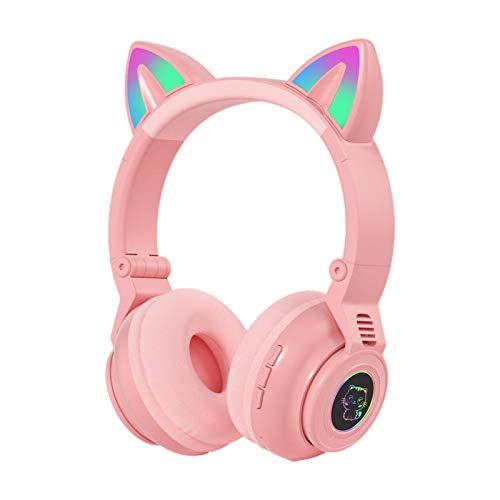 Auriculares con luz LED para orejas de gato, Bluetooth 5.0 Auriculares para juegos de alta fidelidad Auriculares con cable inalámbricos plegables con luz LED para trabajo de oficina/deporte(Rosado)