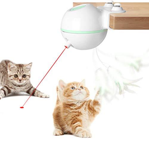 Laelr Katzenspielzeug Ball Elektrische Rotierende Katze Ball Automatische Rolling Katzenkugeln Wiederaufladbare Haustier Übungsbälle mit LED Licht Interaktives Spielzeug für Kätzchen Welpen