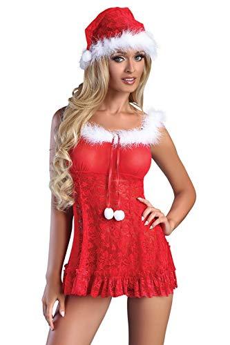 Selente Love & Fun luxuriöses mehrteiliges Damen Dessous-Set in raffiniertem Weihnachts-Design, mit Satin-Augenbinde Made in EU, Babydoll-Mütze-Tanga, Gr. S/M
