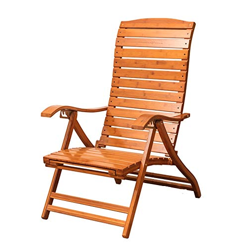 ZR- Bamboo Lounge Chaise Chaise Portable Pliante en Bois en Plein Air Transats Réglable Balcon Old Man Dossier Chaise Siesta avec Coussin