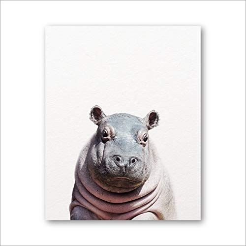 Baby Animal Hippo Print Nursery Wall Art Picture Canvas PaintingSafari Animal Modern Photography Nordic Poster Kids Room Decor 20X30CM SIN marco