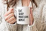 Eat Sleep Make Love Repetir taza San Valentín regalo de boda novio marido regalo novia esposa presente refranes taza novedad regalo