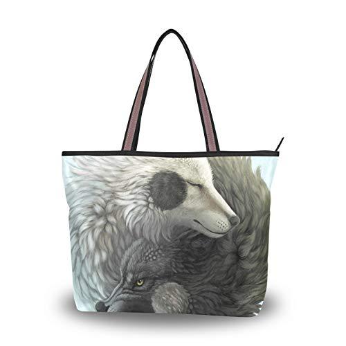 Bolso de compras con correa liviana para mujeres, niñas, señoras, estudiantes, bolsos de hombro, Yin Yang, Lobo, bolso de mano con animales, bolsos de mano