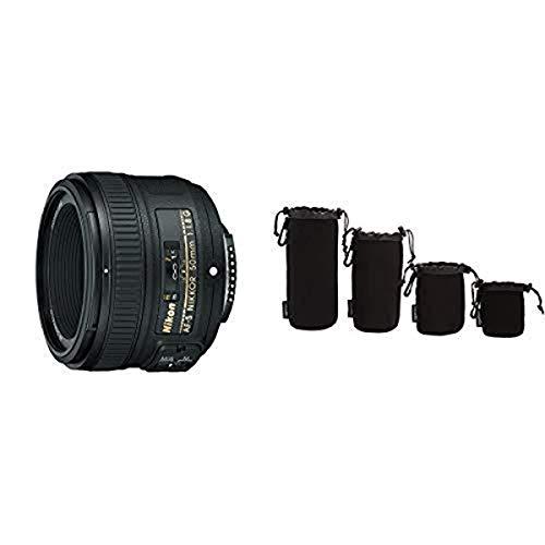 Nikon AF-S NIKKOR 50 mm 1:1,8G Objektiv (58mm Filtergewinde) Amazon Basics - Wasserdichte Schutzbeutel für Kamerobjektiv