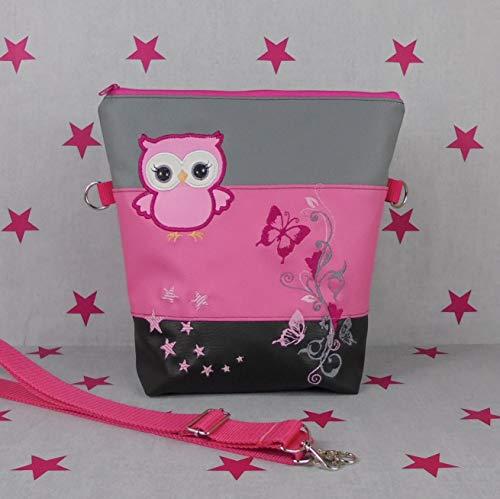 pinkeSterne ☆ Rucksack Handtasche Kunstleder Bestickt Handmade FoldOver Eule Schmetterling Pink