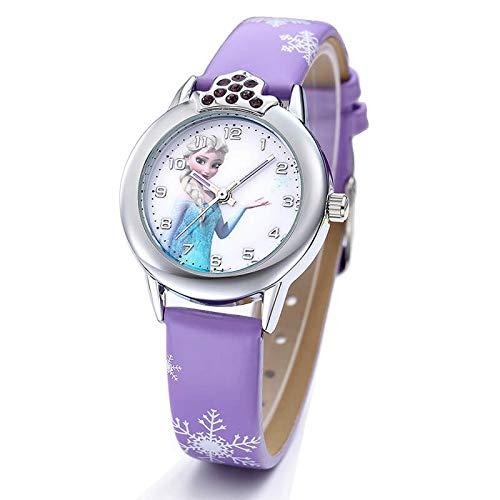 Uhren Armbanduhr für auf Mädchen Elsa Frozen, Armbanduhr Geschenk Mädchen und Baby lila Farbe Uhr