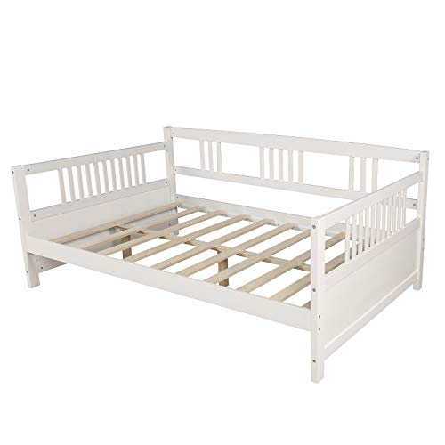 pedkit Full Size Daybed, Wood Daybed Full Size Daybed with Support Legs, White