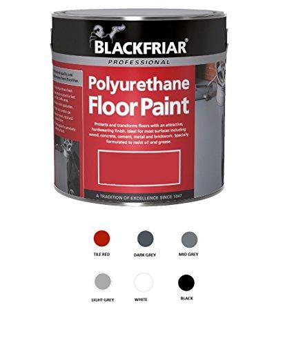 Blackfriar Peinture de sol au polyuréthane pour utilisation intérieure et extérieure, pot de 5litres, gris moyen
