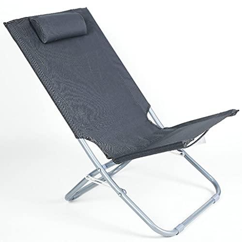 sillas de Camping Silla de Descanso de Almuerzo de Oficina, hogar único Plegable Ocio pequeño reclinable portátil al Aire Libre Camping Playa balcón salón sillón sillas Plegables (Color : Pure Gray)