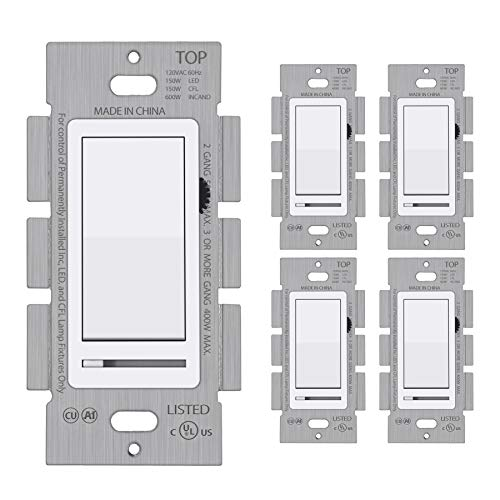 [5 Pack] BESTTEN Dimmer Wall Light Switch, Single Pole or 3-Way, Compatible with Dimmable LED, CFL, Incandescent and Halogen Bulb, 120VAC, UL Listed, White