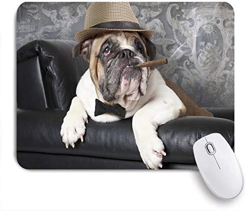 NOLOVVHA Gaming Mouse Pad Rutschfeste Gummibasis,Porträt der englischen Bulldogge, die in einem schwarzen Ledersessel mit einer Zigarre ruht,für Computer Laptop Office Desk,240 x 200mm